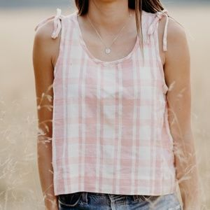 Madewell Cropped Gingham Tank Top